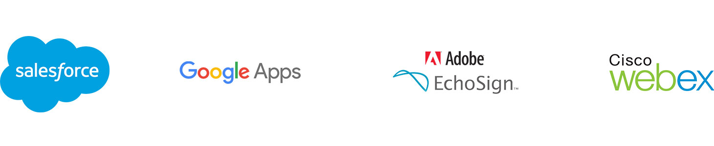 Cinta de logotipos de Salesforce, Google Apps, Adobe EchoSign, Cisco WebEx
