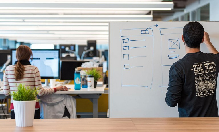 whiteboarding at Box headquarters